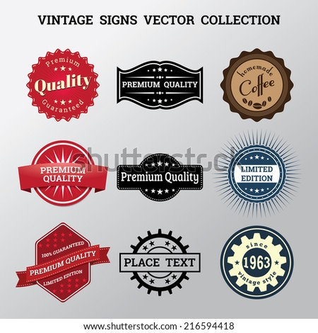 Collection of vector vintage signs and logos - stock vector