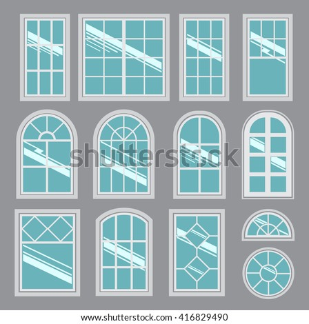 Collection of vector windows types (color version)