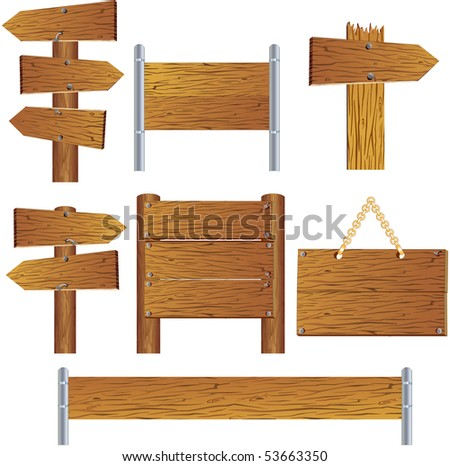 Collection of vector wooden sign and signboard, see more similar images, please visit my Gallery - stock vector