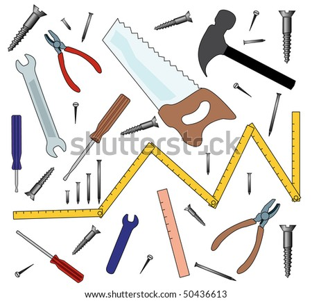 Collection of vectorized tools - stock vector