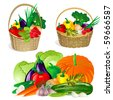collection of vegetables in the basket - stock vector
