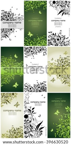 Collection of vertical floral banners - stock vector