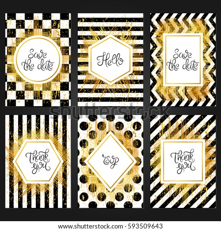 Collection of 6 vintage card templates  in black and white colors and with golden frame. For the wedding, marriage, save the date cards, invitations, greetings. Grunge retro design with golden paint.