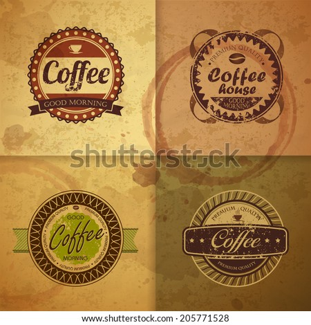 Collection of vintage Coffee Design labels - stock vector