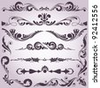 collection of vintage decorative elements for your design - stock photo