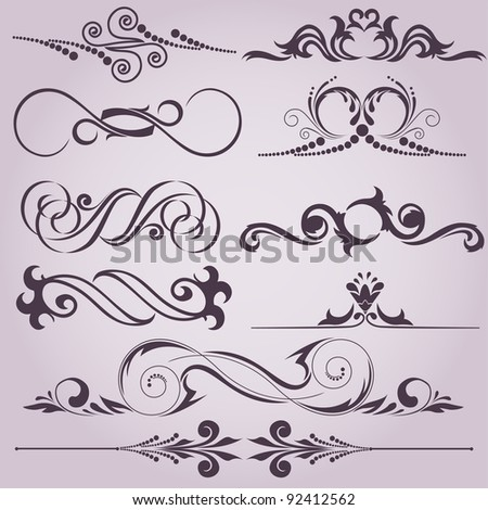 collection of vintage decorative elements for your design - stock vector