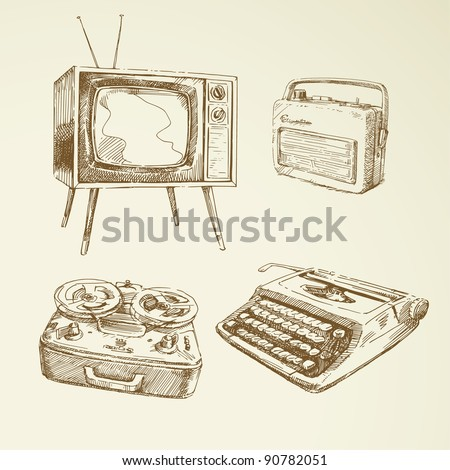 collection of vintage design - stock vector