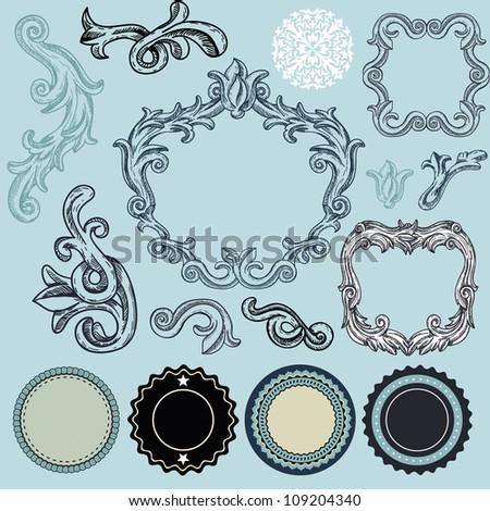 Collection of vintage design elements - vector frames, labels, ribbons, badges - stock vector