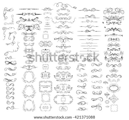 Collection of vintage dividers, frames, swashes and flourishes - stock vector