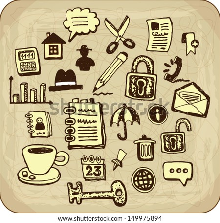 Collection of vintage doodle web and office icons - stock vector