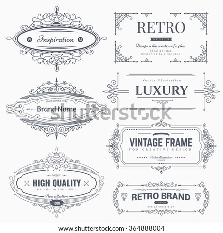 Collection of vintage flourishes calligraphic ornaments and frames. Retro style of design elements, decorations for postcard, banners, logos. Vector template - stock vector