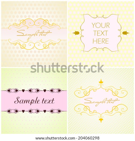 Collection of vintage frames - stock vector