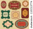 Collection of vintage frames and labels in retro style on a light background - stock vector