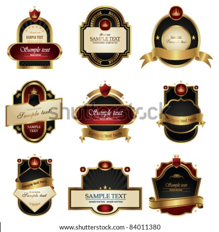 Collection of Vintage gold labels. Vector Illustration. - stock vector