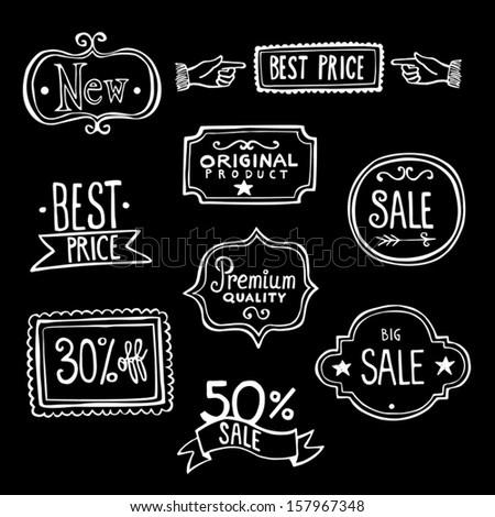 Collection of vintage hand-drawn doodles representing sales labels - stock vector