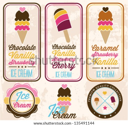Collection of Vintage Ice Cream Badges and Labels in Retro Style - stock vector