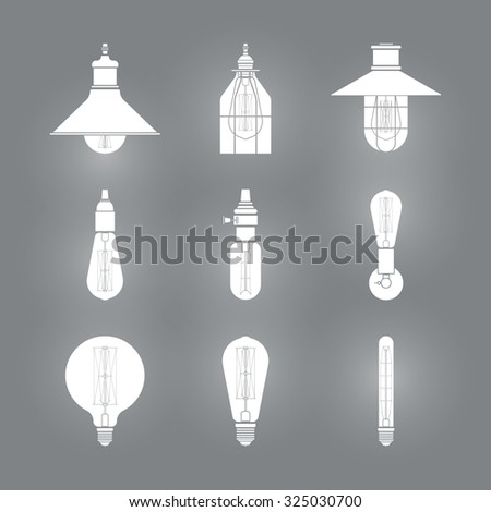 Collection of vintage illuminate symbols light bulbs and lamps.Edison light bulbs.Template for design. Business Signs, Logos, Elements, Labels, Sticker. Vector illustration. Isolated  - stock vector