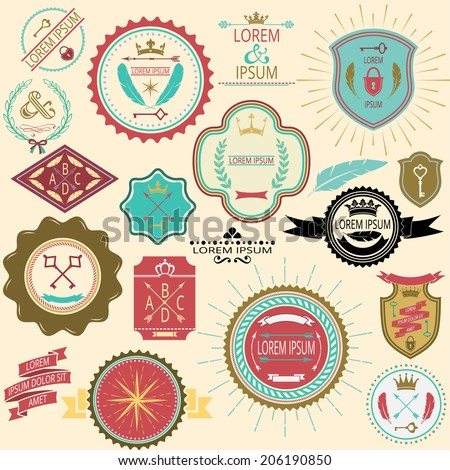 Collection of vintage labels and stamps for design in delicate colors. Vector illustration.