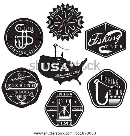 collection of vintage labels on fishing theme - stock vector