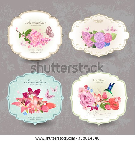collection of vintage labels with flowers and butterfly - stock vector