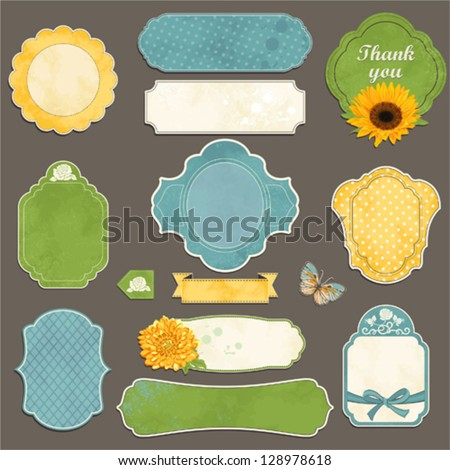 Collection of vintage labels with flowers, butterfly and bows with an empty seat for your text. - stock vector