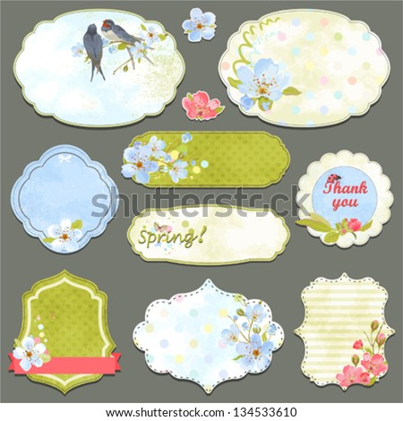 Collection of vintage labels with spring flowers and swallows with an empty seat for your text, vector set 2. - stock vector