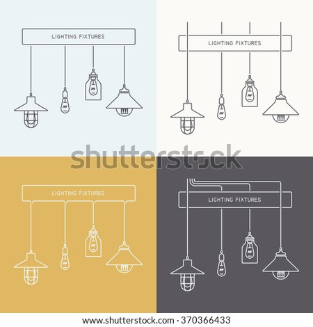 Collection of vintage Lamps, Fixtures.Template for design. Business Cover, Invitations, Brochure, Signs, Logos, Elements, Labels, Catalog elements. Place for text.Vector illustration. Isolated