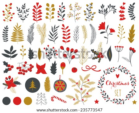Collection of Vintage Merry Christmas And Happy New Year flowers. Greeting stylish illustration of winter romantic flowers, berries, leafs, wreaths, laurel. Good for cards or posters