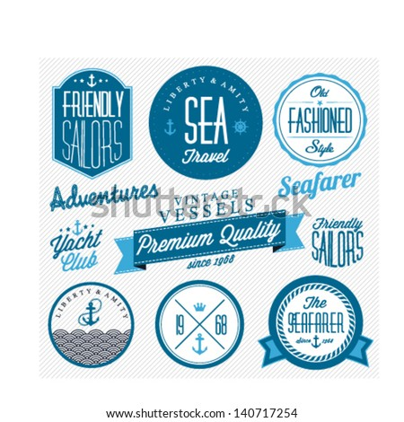 Collection of Vintage Nautical Badges and Labels in Retro Style - stock vector