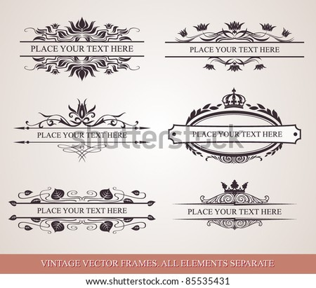 Collection of vintage ornamental frame template for your title, text or message - stock vector