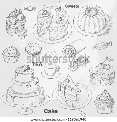Collection of vintage pastry, cakes and sweets. Teatime icon set - stock vector