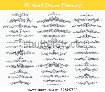 Collection of vintage patterns. Flourishes calligraphic ornaments. Retro style of design elements, divider, postcard, banners, logos. Vector template. Hand-drawn. - stock vector