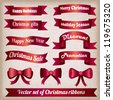 Collection of vintage red Christmas ribbons with inscription - stock vector
