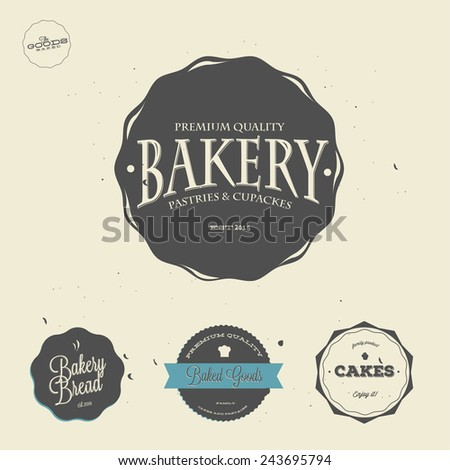 Collection of vintage retro bakery badges and labels. - stock vector