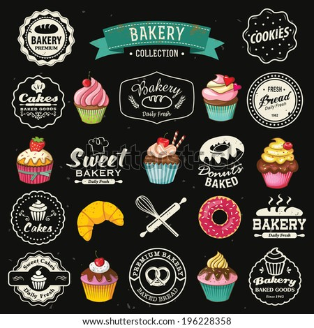 Collection of vintage retro bakery badges and labels on chalkboard. Hand lettering style with cupcakes, croissants, donuts, breads, pretzel and cookies. - stock vector