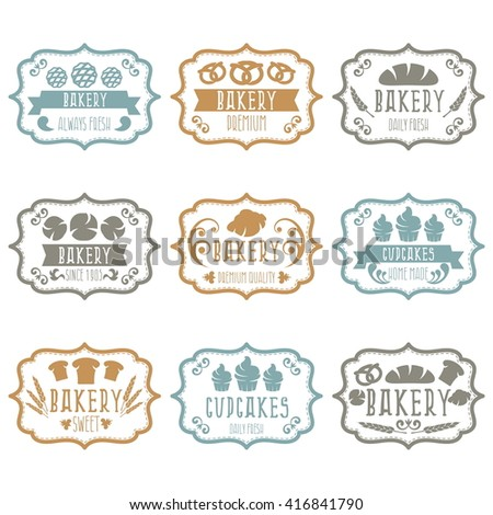 Collection of vintage retro bakery logo labels with bread,pretzel,croissant,cupcake and spike. Vector illustration - stock vector
