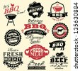 Collection of vintage retro BBQ badges and labels - stock