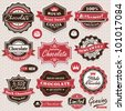 Collection of vintage retro Chocolate labels, badges and icons - stock vector
