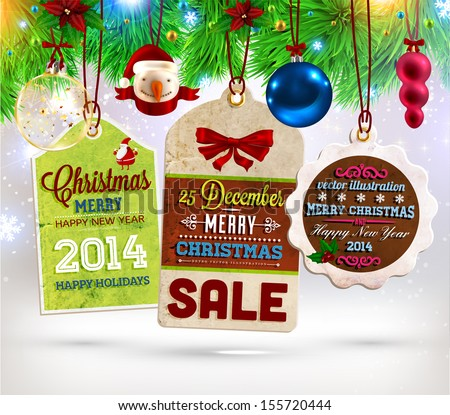 Collection of Vintage Retro Christmas Labels. Set of Xmas badges and holiday icons - stock vector