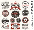 Collection of vintage retro coffee badges and labels - stock vector