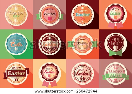 Collection of vintage retro Easter labels, stickers, badges and ribbons, vector illustration - stock vector