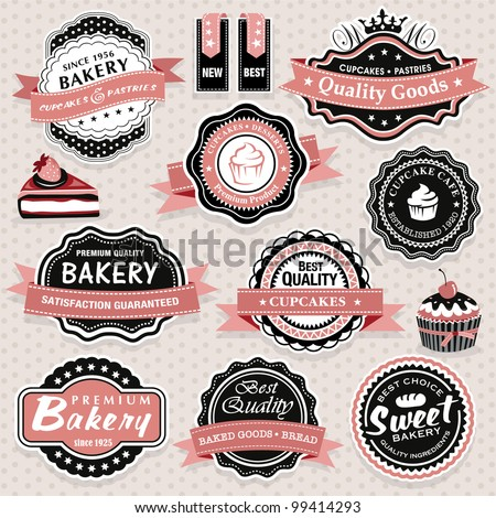 Collection of vintage retro food labels, badges and icons