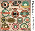 Collection of vintage retro grunge car labels, badges and icons - stock photo