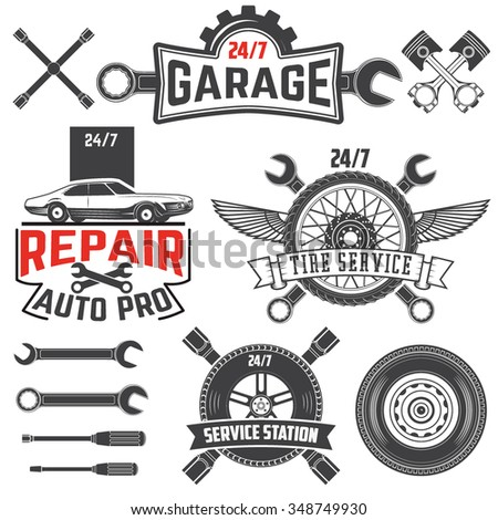 Collection of vintage retro grunge car labels, badges and icons. Garage, Car repair station, Tire Service labels and badges and design elements. - stock vector