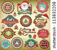 Collection of vintage retro grunge christmas labels, badges and icons - stock