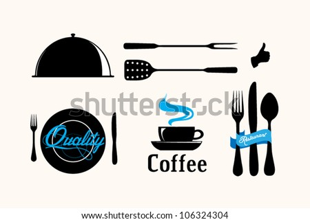 Collection of vintage retro grunge coffee and restaurant labels - stock vector