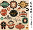 Collection of vintage retro grunge food labels, badges and icons - stock photo