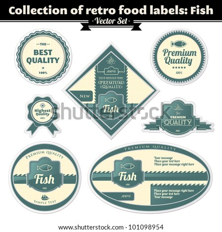 Collection Of Vintage Retro Grunge Food Labels. Fish - stock vector