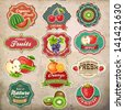Collection of vintage retro grunge fresh fruit labels, badges and icons - stock vector