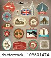 Collection of vintage retro grunge vacation & travel labels, labels, badges and icons - stock photo